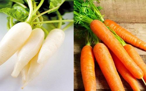 Củ cải trắng và cà rốt