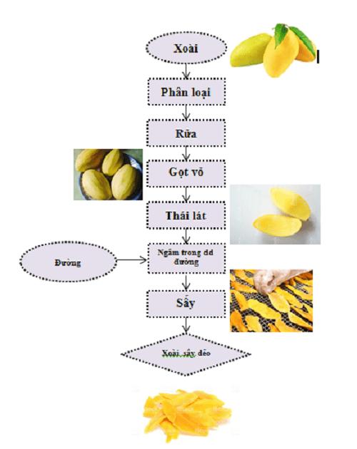 quy trình sản xuất xoài sấy dẻo